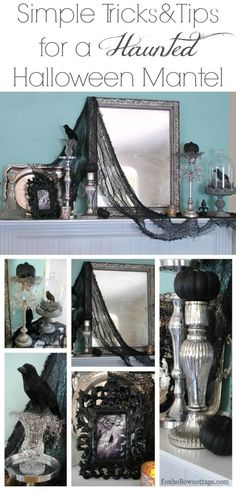 Easy, budget friendly Halloween mantel decorating ideas. Little bit spooky haunted Halloween decor at foxhollowcottage.com
