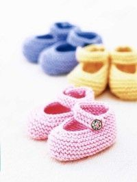 this is my absolute favorite knitted bootie pattern.  they stay on and are darling.  once you get going you can easily knit a pair in a couple of hours.  Q had them in multiple colors and sizes during her first year.  great gift.