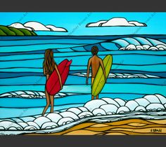 Heather Brown shows a couple out for a beautiful day of surfing on the North Shore of Oahu. Matted print by North Shore Oahu Surf Artist Heather Brown. This print comes with an embossed mat and is cre
