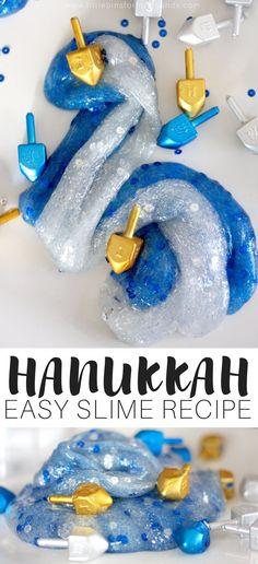 Easy To Make Hanukkah Slime Recipe for Kids Winter Holiday