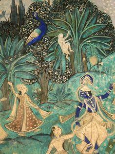 India painting Krsna and Gopis Pichwai Paintings, Mughal Paintings, Indian Art Paintings, Indian Artwork, Indian Folk Art, Krishna Art, Shree Krishna, Krishna Images, Hanuman