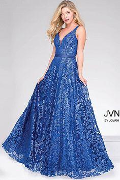 Royal Blue Embellished Lace Prom Ballgown #Jvn50320 #jvnbyjovani #promdress