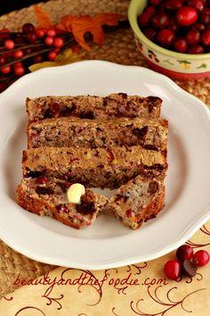 Chocolate Chip Cranberry Pecan Bread (grain free)   www.beautyandthefoodie.com