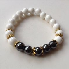 Genuine-Russian-Cacholong-Bracelet-With-Hematite-Artisan-Semi-Precious-Stone