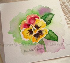 Original Watercolor Painting Art Pansy Viola Flower Garden Study by Michelle L. Palmer
