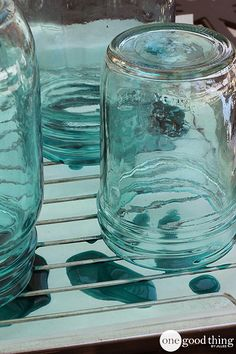 "A super simple technique that results in a beautiful ""vintage"" jar that you'd be hard-pressed to tell apart from the genuine article! #diy #masonjars"