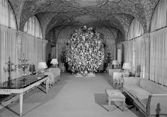 Silent film comedy star Harold Lloyd was a crazed Christmas lover. Using many trees roped together Lloyd built these enormous Christmas trees, then added an extraordinary collection of Christmas ornaments. Large Christmas Tree, Christmas Past, Xmas Tree, Vintage Christmas, Family Christmas, Harold Lloyd, Hollywood Homes, Silent Film, Christmas Decorations