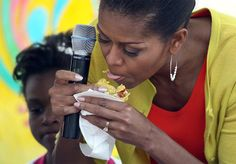 Michelle Obama with taco.