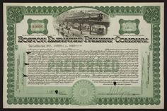 Stock certificate for the Boston Elevated Railway Company, Old Colony Trust Company, Boston, Mass., dated September 28, 1927 | Historic New England