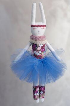 Blue Minka the Rabbit, Ballerina Rabbit Doll in tulle tutu, Handmade Stuffed Toy, Bunny Rabbit, Plush Doll by Kotakura on Etsy
