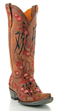 GIRLS MACIE BEAN LEATHER COWGIRL BOOTS NIB MK8012-FLORAL WITH CROSS ON SHAFT