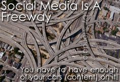 """Social Media Is Like A Freeway in that you must have enough content on the road no matter when your audience happens to be standing on the side of the road. Social Media Humor, City Photo, Content, Shit Happens, Infographics, Engagement, Infographic, Engagements, Info Graphics"