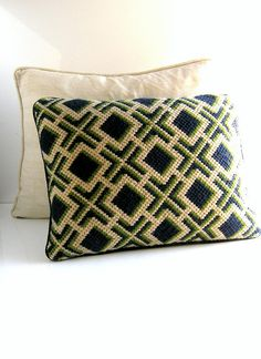 70s Bargello needlepoint decorative pillow by CoolVintageFinds