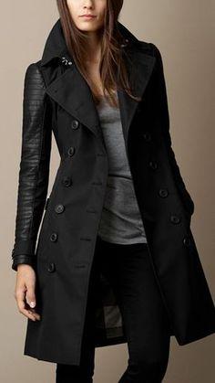 Schwarz Trenchcoat mit Leder- und Nietendetail - Bild 1 Black trench coat with leather and rivet det Fashion Mode, Look Fashion, Autumn Fashion, Fashion Outfits, Womens Fashion, Lolita Fashion, Fashion Boots, 50 Fashion, Fashion Styles