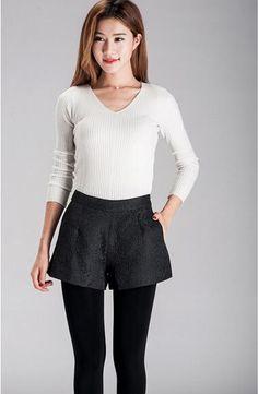 2017 New Fashion Dark Shorts High-waisted Shorts Casual