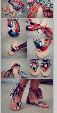 How I make sandals from flip flops dang.