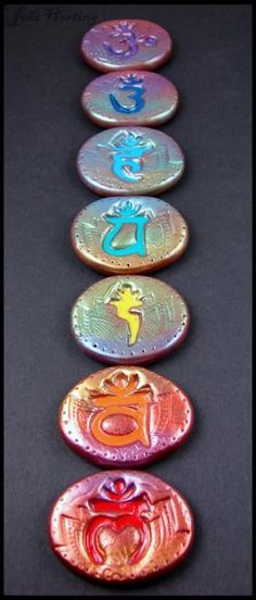 Some of my Polymer Clay Creations! Chakra Amulet Runes Set  www.beadworx.com