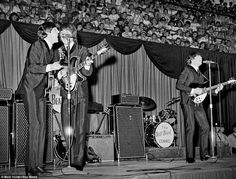 Among the pictures - which were unearthed in a vault under the Canadian Broadcasting Corporation building - is an image of the Beatles performing at Maple Leaf Gardens in Ontario, Canada, in 1964.