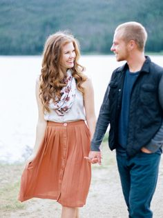 Engagement photos - Loving engaged couple hold hands on a Colorado lakeside. Engagement Shots, Engagement Couple, Fall Engagement, Couple Photography, Engagement Photography, Wedding Photography, Country Engagement Pictures, Colorado, Spring Wedding Colors