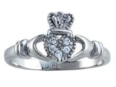 925 Sterling Silver Claddagh Ring with Cubic Zirconia (CZ)