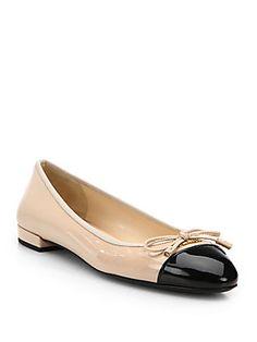 Prada Patent Leather Cap-Toe Ballet Flats