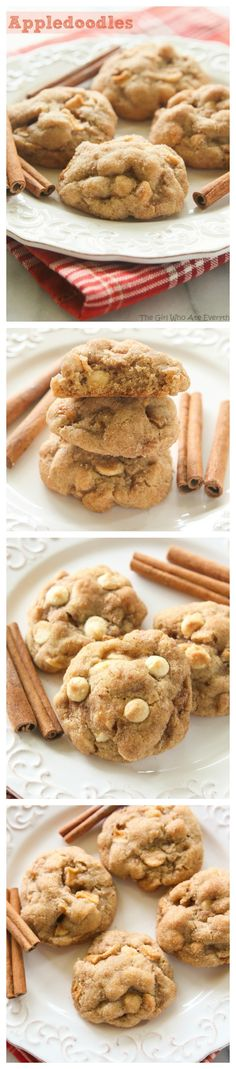 Appledoodles - An apple version of a snickerdoodle with small pieces of apple inside. These cookies stay soft for days!