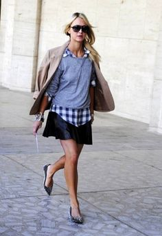 sweaters, fashion, button, leather skirts, flat, outfit, street styles, plaid shirts, shoe