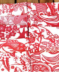 Fat Quarter Bundle of red and white fabric Chinese Paper Cuts