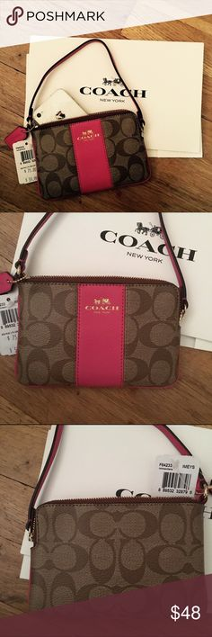 Authentic coach signature wristlet w/coach box COACH Signature PVC Leather Wristlet, 2 multifunction slot pockets inside Classic COACH Signature C design with eye catching goldtone die cut Coach Horse and Carriage logo embellishing the front-side leather strip. Top zipper closure with a polished gold tone hardware Signature leather logo embossed hangtag. Dimensions: 6.25 Inch Length x 4.25 Inch High Interior compartments lined with a coordinating color. Comes with coach box Coach Bags…