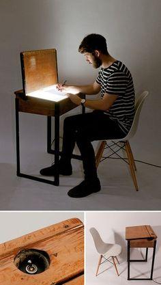 Loving the energy of this light box/school desk. Mak...