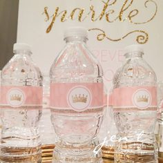 Pink and Gold Tiara Water Bottle Labels
