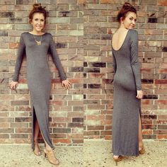 Fitted Maxi-Dress w/scoop back and slit. Dress up for date night or down for brunch with friends! #maxidress #like #fitted #scoopback #datenight #daytonight #ootd #fall #fashion #fallfashion #bombshell #bronze_bombshell_salon #sunrays_salon
