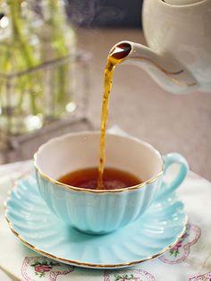 Blue tea cup and saucer Coffee Time, Tea Time, Chocolates, Breakfast At Tiffanys, Fun Cup, Tea Art, My Cup Of Tea, Macaron, Vintage Tea