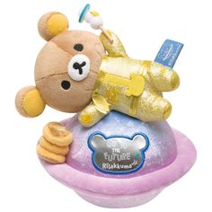 Super cute Rilakkuma the astronaut...with a tall stack of pancakes!!!! ^^