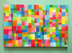 Abstract Painting / ORIGINAL PAINTING/ Geometric shapes/ Colored squares / blue red yellow green pink orange Colors /geometric painting