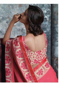 Laxmipati Sarees - Stunning resham work and moti lace are tuneful on this cool gajari pink saree. Laxmipati Sarees, Lehenga Choli, Anarkali, Sari, Indian Blouse, Indian Sarees, Ethnic Sarees, Indian Attire, Indian Wear