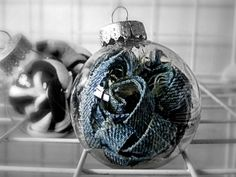 Christmas Ornament Upcycled Clothing Blue Jean Denim by TrashN2Tees. These would be so simple to make! #DIY