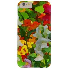 This brilliantly colored iPhone 6 Plus case features an abstract floral pattern of an informal garden setting with pink and white snapdragons, nasturtiums in orange, yellow and red and one red poppy. The original photograph has been digitally enhanced to produce an impressionistic feeling. What a wonderful gift for gardeners!