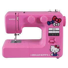 How cute is this?!! Pink asethtics!! Hello Kitty Sewing Machine - Pink