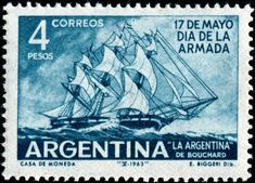 Hippolyte de Bouchard (1780-1837) was a French and Argentine sailor and corsair who fought for Argentina, Chile, and Peru. Here is an image of a stamp depicting Bouchard's frigate La Argentina, designed after a painting by Argentine maritime artist Emilio Biggeri (1907-1977), printed by photogravure, and issued by Argentina on May 18, 1963 for Navy Day, Scott No. 747.