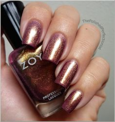 Zoya Faye: This color is so unique. The base is a plum with gold sparkle throughout. Looks especially amazing in the sun!