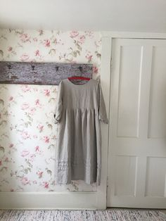 e304833b8b Long Linen Dress   Prairie Dress   Hem Pleats   Pin Tucks   Vintage Button  back   Romantic