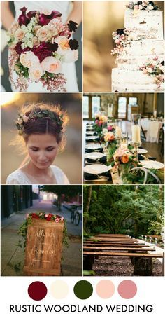 Rustic Woodland Wedding Inspiration Board & Color Palette                                                                                                                                                                                 More