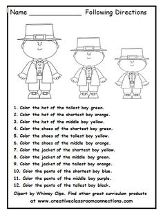 math worksheet : free following directions with snowmen and color words other  : Following Directions Worksheet Kindergarten