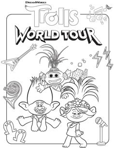 Bring home Trolls 2 with FREE Trolls World Tour Coloring Sheets & Kids Activities Free Coloring Sheets, Online Coloring Pages, Cartoon Coloring Pages, Free Printable Coloring Pages, Coloring Book Pages, Coloring Pages For Kids, Kids Coloring, Dinosaur Coloring, Fairy Coloring