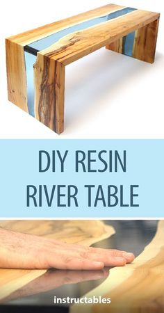 DIY Resin River Table Using Clear Epoxy Casting Resin and Wood - Crafty Bint! - DIY Resin River Table Using Clear Epoxy Casting Resin and Wood - Diy Resin River Table, Resin And Wood Diy, Wood Resin Table, Diy Resin Desk, Epoxy Resin Table, Clear Epoxy Resin, Woodworking Classes, Popular Woodworking, Woodworking Wood