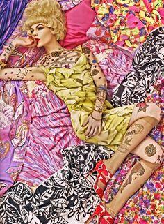 Vogue Patterns. Photographed by Steven Meisel featuring Hanne-Gaby Odiele, Kinga Rajzak, Lara Stone, Maryna Linchuk, Meghan Collison. Vogue Italia, December 2007.