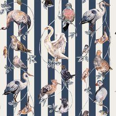 Papier Peint House of Hackney, Flights of Fancy rayure blue et cream Luxury Wallpaper, More Wallpaper, Bird Patterns, Textures Patterns, House Of Hackney Wallpaper, Animal Print Wallpaper, Fancy Houses, Design Repeats, Striped Wallpaper