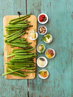 It's easy to take asparagus from plain to party-perfect. Just toss 2 lbs. of steamed spears with one of these flavor mixes (click through to get them!)