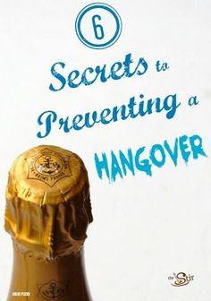 MUST READ before partying on New Year's (or any other holiday)! Tricks to prevent a hangover! http://thestir.cafemom.com/healthy_living/148883/6_secret_tricks_for_preventing?utm_medium=sm&utm_source=pinterest&utm_content=thestir